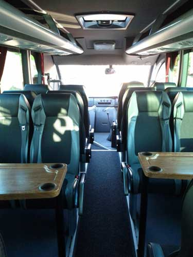 Mercedes 0816 Riada interior view with 2 Tables